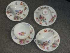 A SET OF FOUR COALPORT CUPS AND SAUCERS, 1812 SEVRES PATTERN