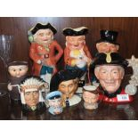 A SELECTION OF TOBY JUGS AND CHARACTER JUGS TO INCLUDE ROYAL DOULTON CHELSEA PENSIONER D6817 (9)