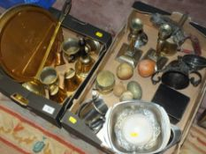 TWO BOXES OF ASSORTED METALWARE TO INCLUDE BRASS BELLS