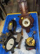 A VINTAGE CARVED OAK BAROMETER TOGETHER WITH TWO BOOT LASTS, A SET OF SCALES AND TABLE TOP