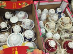 TWO TRAYS OF CUPS AND SAUCERS TO INCLUDE COALPORT, CAULDON CHINA ETC.