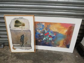 AN UNFRAMED ABSTRACT PRINT OF A STILL LIFE STUDY BY ODILOW REDON TOGETHER WITH AN ABSTRACT ROBERT