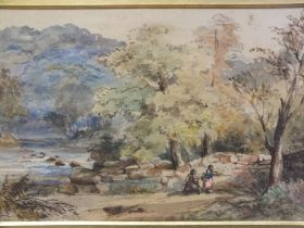 FREDERICK HENRY HENSHAW (1807-1891). Wooded river landscape with figures, signed with initials and