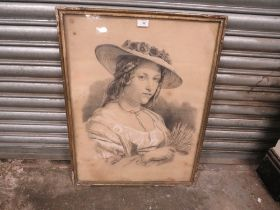 AN ANTIQUE FRAMED AND GLAZED PENCIL PORTRAIT STUDY OF A LADY - OVERALL SIZE 72CM X 55CM