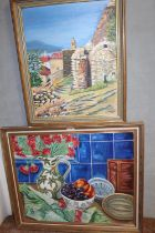 TWO GILT FRAMED OIL ON BOARDS DEPICTING A TABLE TOP STILL LIFE STUDY AND A CONTINENTAL VIEW SCENE BY