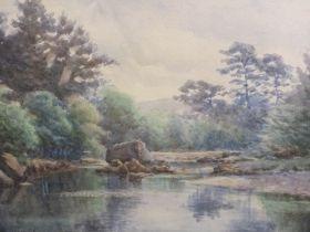 JAMES WILLIAM STAMPER (1873-1947). A river landscape, signed lower left, watercolour, gilt framed