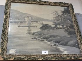 A FRAMED AND GLAZED EASTERN STYLE PICTURE ON CLOTH ON BOARD - OVERALL SIZE 49.5CM X 55CM