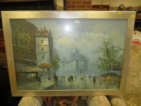 A SILVER FRAMED AND GLAZED IMPRESSIONIST OIL PAINTING OF A PARISIAN SCENE SIZE - 90CM X 60CM `
