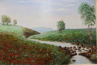 A FRAMED OIL ON BOARD OF A COUNTRY RIVER SCENE WITH POPPY FIELD - SIZE 45CM X 59CM