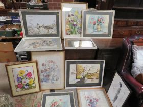 A COLLECTION OF STILL LIFE WATERCOLOURS MOSTLY BY DORA SMITH, TOGETHER WITH A WATERCOLOUR OF A