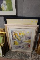 FOUR FRAMED WATERCOLOURS TO INCLUDE STILL LIFE STUDIES SIGNED TYLDESLEY