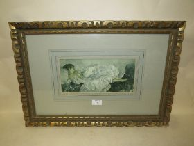 A WILLIAM RUSSELL FLINT PRINT IN A CARVED WOODEN GILT FRAME - H 13 CM BY W 28 CM