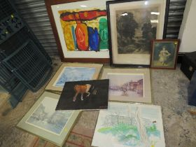 A COLLECTION OF PICTURES AND PRINTS TO INCLUDE SIGNED LIMITED EDITION PRINTS, LARGE WATERCOLOUR ETC