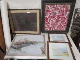 A COLLECTION OF PICTURES TO INCLUDE FRAMED AND GLAZED EMBROIDERY, WATERCOLOURS BY GILL SMITH ETC