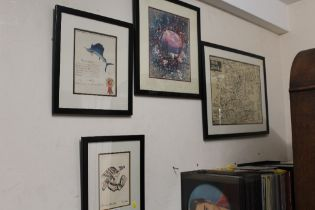 FOUR FRAMED AND GLAZED PICTURES TO INCLUDE A VINTAGE JAPANESE MAP