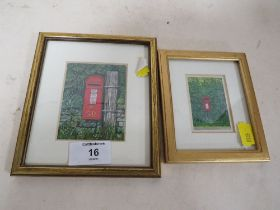 TWO MINIATURE FRAMED AND GLAZED WATERCOLOURS OF POSTBOXES BY TREVOR L YOUNG - LARGEST H 8.5 CM BY
