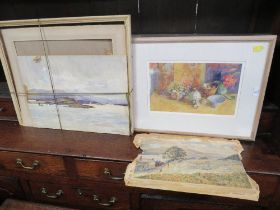 TWO UNFRAMED WATERCOLOURS DEPICTING MOUNTAINOUS LANDSCAPES BY KENNETH GREGORY AND A J OSMOND,