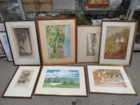 A COLLECTION OF ASSORTED WATERCOLOURS OF BUILDINGS BY H L BROWNING, E. HALLIS, T.C HISLOP ETC.