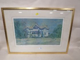 A GILT FRAMED AND GLAZED SIGNED LIMITED EDITION PRINT ENTITLED 'SWEDISH HOUSE' NUMBER 9 OF 500 BY