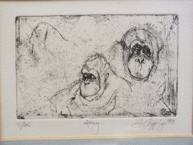 A FRAMED AND GLAZED SIGNED LIMITED EDITION PRINT OF APES ENTITLED 'AMY' 5/25 SIGNED LOWER RIGHT -
