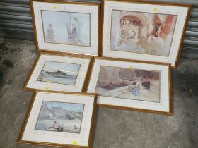 FIVE FRAMED AND GLAZED WILLIAM RUSSELL FLINT PRINTS