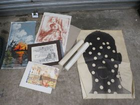 A COLLECTION OF UNFRAMED PICTURES TO INCLUDE WATERCOLOURS, ABSTRACT SCREAM PRINT BY VICTOR KAIFAS