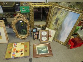 A COLLECTION OF ASSORTED PRINTS, TOGETHER WITH TWO GILT FRAMED WALL MIRRORS TO INCLUDE A CHALK