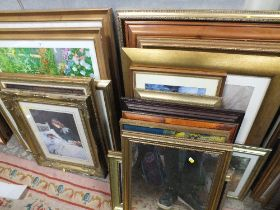 A QUANTITY OF LARGE FRAMED AND GLAZED PICTURES AND PRINTS TO INCLUDE IMPRESSIONIST SCENES AND