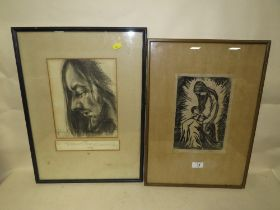 A SIGNED RELIGIOUS INTEREST PRINT OF MADONA & CHILD TOGETHER WITH A CHARCOAL P[PROFILE STUDY OF A