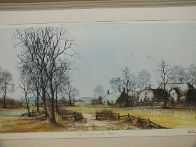 A LARGE SIGNED FRAMED AND GLAZED LIMITED EDITION PRINT ENTITLED 'THE FARMLAND' BY RON FOLLAND SIGNED