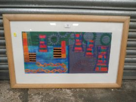 A BLACK COUNTRY INTEREST FRAMED AND GLAZED TAPESTRY PICTURE SIGNED CHARLOTTE HODGE LOWER RIGHT -