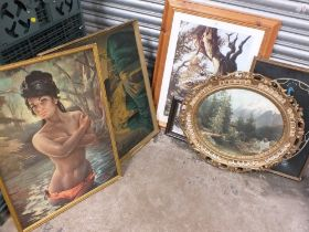 TWO RETRO GILT FRAMED PRINTS BY J H LYNCH AND TRETCHIKOFF TOGETHER WITH AN EMBROIDERED PICTURE OF
