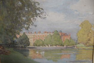 A FRAMED AND GLAZED MIXED MEDIA PAINTING OF HAMPTON PORT BY ALFRED JOHN BILLINGHURST (INFORMATION