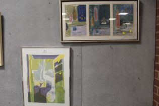 THREE IN ONE FRAME MODERNIST STILL LIFE MIXED MEDIA PICTURE TOGETHER WITH A MODERNIST LITHOGRAPH