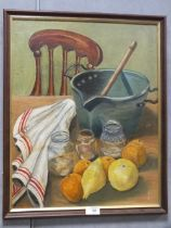A FRAMED OIL ON BOARD STILL LIFE STUDY OF A TABLE TOP SCENE INDISTINCTLY SIGNED LOWER RIGHT