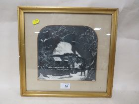 A FRAMED AND GLAZED MIXED MEDIA PICTURE OF A WINTER SCENE - W 22 CM BY H 21 CM