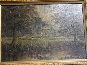 AN ANTIQUE GILT FRAMED OIL ON CANVAS LAID ON BOARD OF A COUNTRY SCENE OF A HOUSE NEAR A RIVER, H