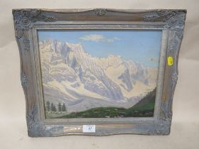A FRAMED OIL ON BOARD OF AN ALPINE SCENE, INSCRIBED VERSO - H 26.5 CM BY W 34 CM