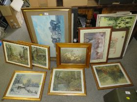 A COLLECTION OF PICTURES AND PRINTS TO INCLUDE TWO L S LOWRY PRINTS, WWI HONORABLE DISCHARGE FRAMED