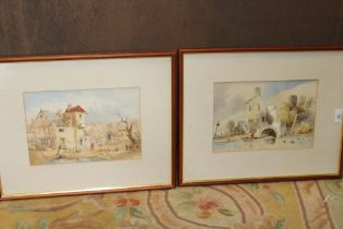 A PAIR OF FRAMED AND GLAZED WATERCOLOURS ONE SIGNED E CRISP 1850