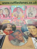 A COLLECTION OF NINE ELVIS PRESLEY PICTURE DISCS, together with an Elvis Presley and Bill Haley Dan