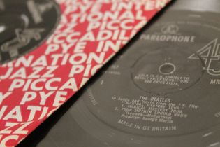 """A COLLECTION OF THE BEATLES 45 RPM 7"""" SINGLE RECORDS ETC., all on Parlophone with silver and black"""