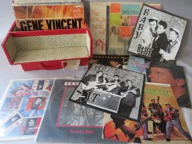 A COLLECTION OF MAINLY GENE VINCENT LP RECORDS, to include a Gene Vincent Rarities Vol 2 on red vin
