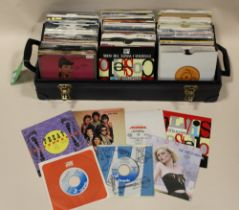 """A COLLECTION OF mostly 1980's era 45 RPM 7"""" SINGLE RECORDS, to include Blondie, The Police, David B"""