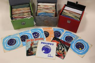 """THREE CASES OF 1960'S ERA 45 RPM 7"""" SINGLE RECORDS, to include Curved Air, Bumble And The Stingers,"""