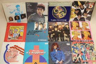 """A QUANTITY OF MOSTLY 1980'S ERA 45 RPM 7"""" SINGLE RECORDS, to include The B-52's, Tubeway Army, Snif"""