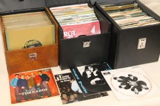 """THREE CASES OF MOSTLY 1950'S /60's ERA 45 RPM 7"""" SINGLE RECORDS ETC., to include The Scaffold, The"""