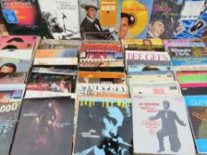 TWO BOXES OF ASSORTED EASY LISTENING LP RECORDS ETC., to include Frank Sinatra, Simon & Garfunkel,