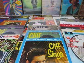 """AN EXTENSIVE COLLECTION OF CLIFF RICHARD LP RECORDS, 12"""" SINGLES ETC., to include two signed album"""