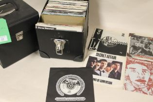 """TWO CASES OF MOSTLY 1980'S ERA 45 RPM 7"""" SINGLE RECORDS ETC., to include UB40, Iron Maiden, Ian"""